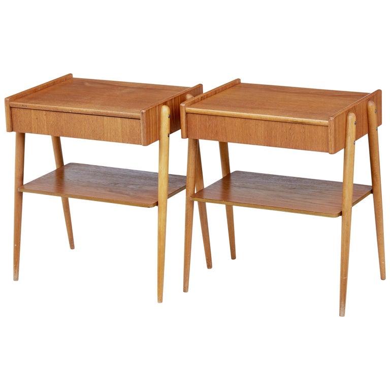 Pair of 1960s Scandinavian Teak Bedside Tables For Sale