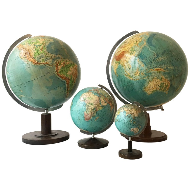 Globes For Sale >> Vintage Globes Collection Set Of Four Germany 1930s