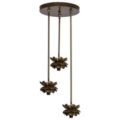 Feldman Brass Lotus Flower Three-Light Fixture