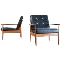 Danish Pair of Teak Leather Armchairs, 1960s