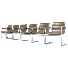 Jorgen Kastholm 6 Cantilever Leather Armchair Chair for Kusch + Co