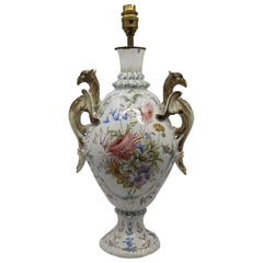 Antique Austrian Majolica Table Lamp with Griffin Form Handles