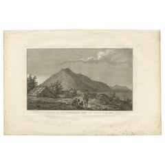 Antique Print of a Village in New Zealand by Cook, 1803