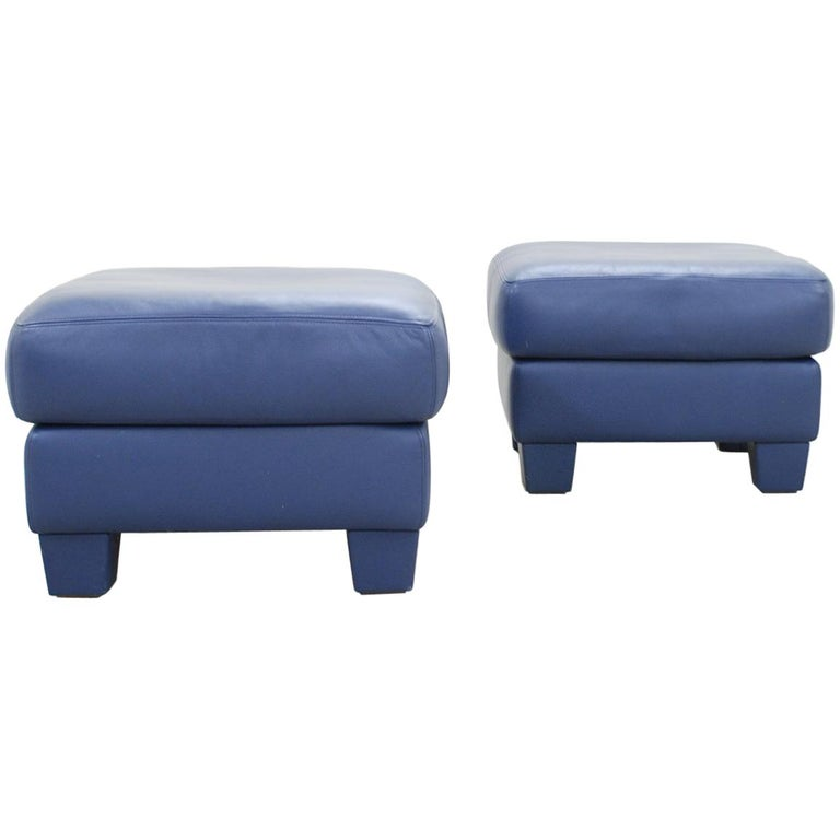 De Sede DS 17 Pair of Blue Leather Ottoman or Pouf For Sale