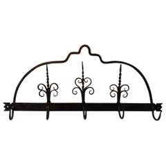 18th Century Dutch Wrought Iron Wall Rack for Fireplace Tools