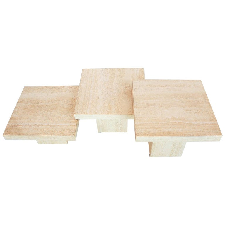 Italian Travertine Marble Coffee Tables from the 1970s, Set of Three For Sale