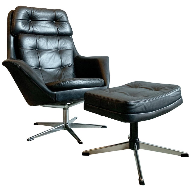 HW Klein Black Leather Swivel Armchair by Bramin with Foot Stool For Sale
