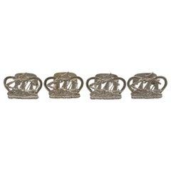 Set 4 Victorian Scottish Silver Galleon Menu Holders, Edinburgh, 1899