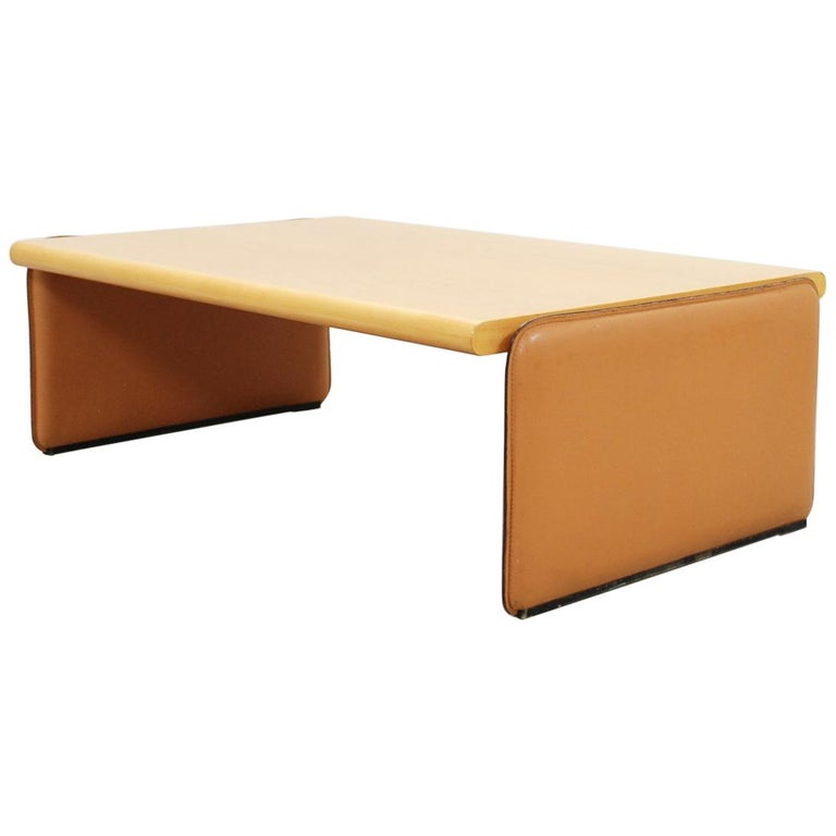 De Sede Coffee Table Cherrywood and Cognac Leather For Sale