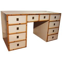 Spanischer Resopal und Bambus Schreibtisch mit Schubladen und Messingbeschlägen, 1980er