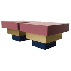 1980s Formica and Brass Stepped Side Tables Midcentury