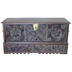 "17th Century Museum Piece Spanish Country Basque Hand Carved Chest or ""Kutxa"""