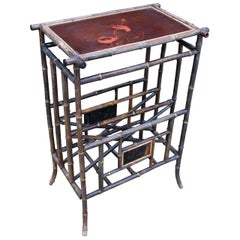 1950s Lacquer Decorated English Bamboo Side Table with Magazine Holder