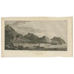 Antique Print of Huaheine II by Cook, 1803