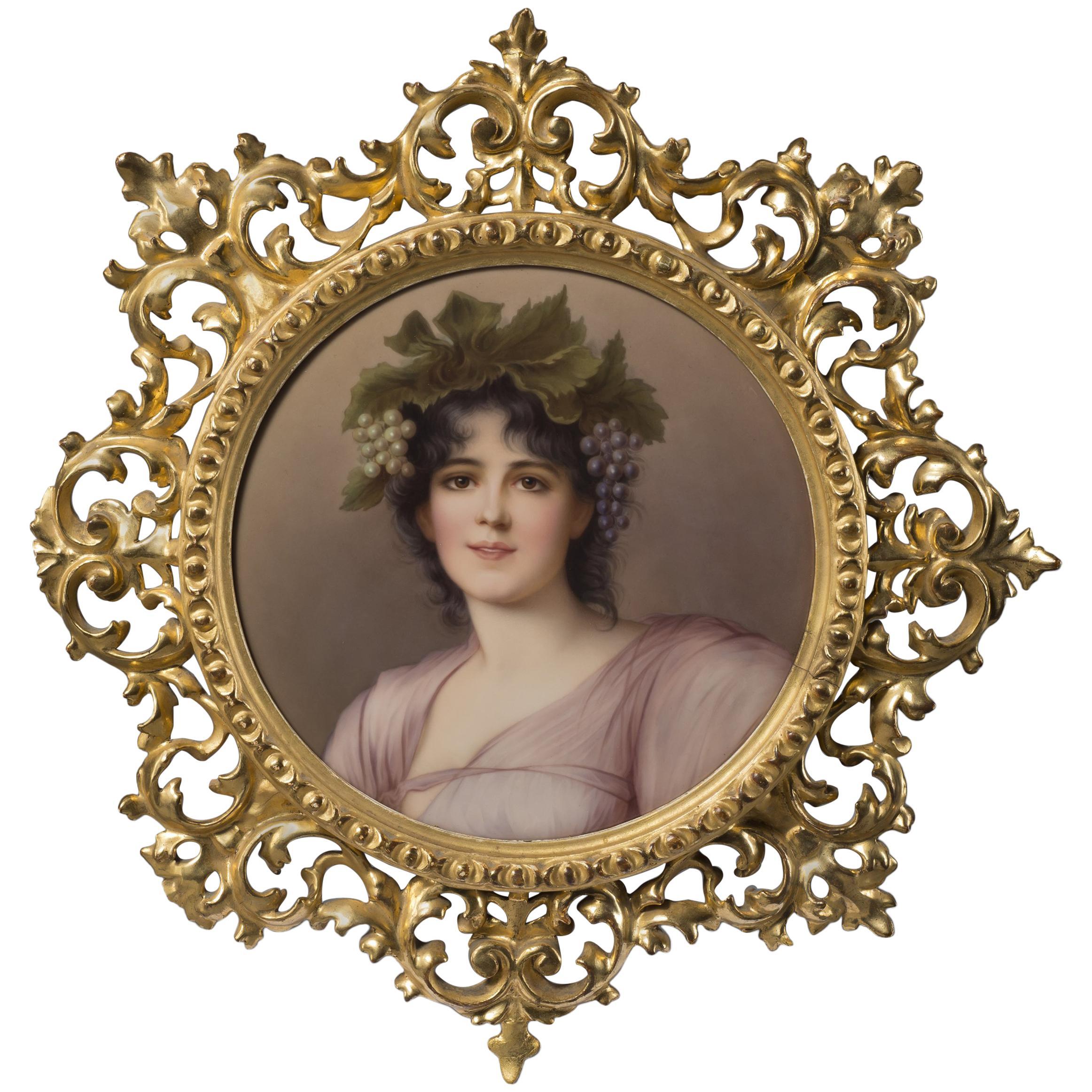 KPM Style Porcelain Plaque Depicting a Maiden as a Young Bacchante, circa 1910