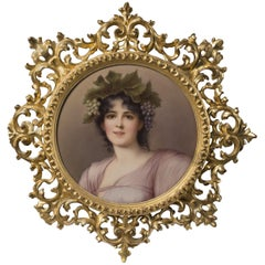 KPM Style Porcelain Plaque Depicting a Maiden as a Young Bacchante, circa 1910