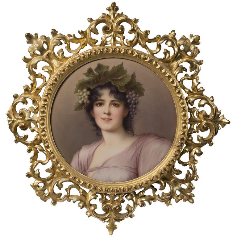 KPM Style Porcelain Plaque Depicting a Maiden as a Young Bacchante, circa 1910 For Sale