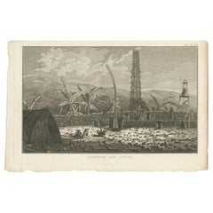 Antique Print of a Cemetery of Atooi Island by Cook, 1803