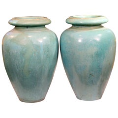 Large Pair of Galloway Terracotta Company Pottery Turquoise Urns Vases
