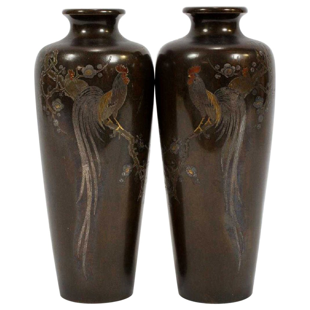 Pair of Japanese Bronze Vase with Metal Inlays by Mitsufune