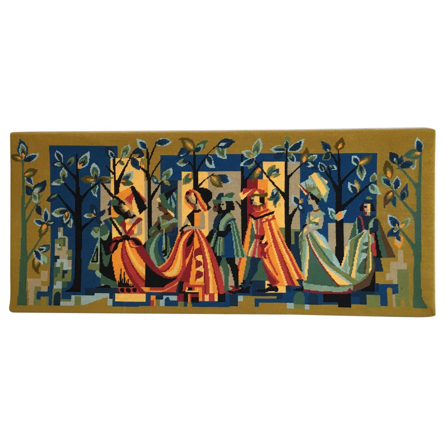 French Vintage Petit Point Colourful Wall Tapestry or Embroidery, circa 1950s