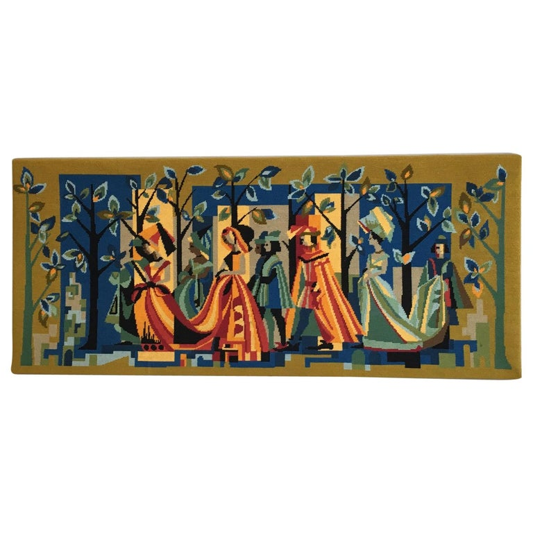 French Vintage Petit Point Colourful Wall Tapestry or Embroidery, circa 1950s For Sale