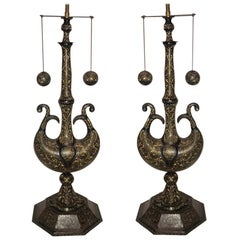 Pair of Etched Bronze Table Lamps