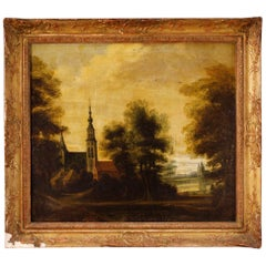 19th Century Oil on Canvas Dutch Landscape with Architecture Painting, 1850