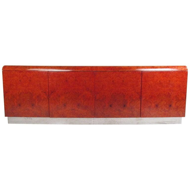 Midcentury Leon Rosen Pace Burl wood Credenza For Sale