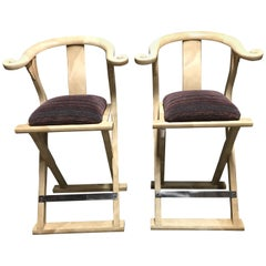 Pair of Goatskin-Parchment Yoke Bar Stools by Enrique Garcel