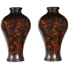 Large Pair Antique Japanese Lacquer Vases, 19th Century