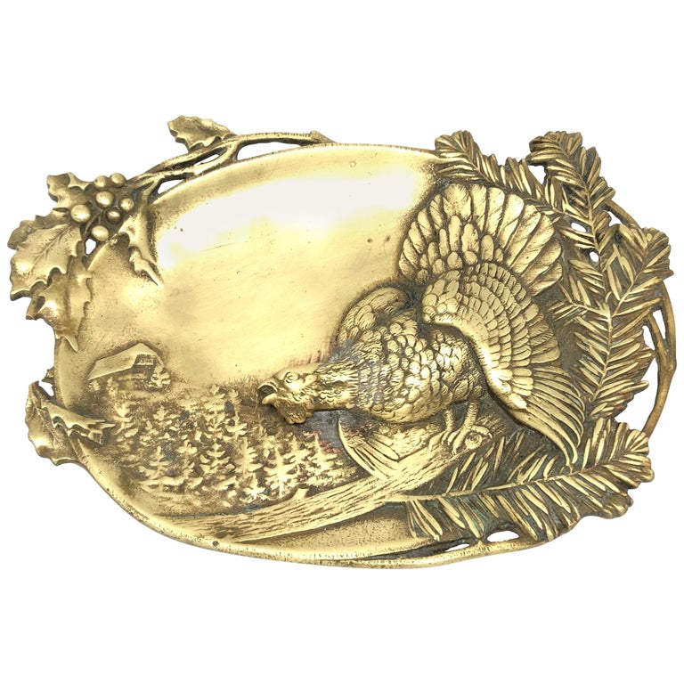 Figural  Bronze Catchall, Wood Grouse and Mountain Motif Antique, German, 1920s For Sale