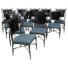 Set of 10 French Regency Ebonized Metal Dining Side Chairs