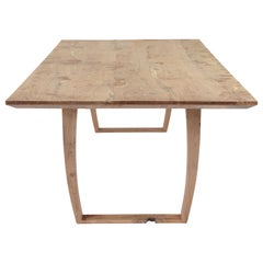 Contemporary Bespoke Table in Solid English Burr Oak, Inset Live Edge Detail
