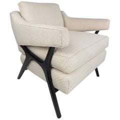 Mid-Century Modern Sculpted Lounge Chair with an Ebonized Frame