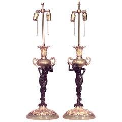 Ein Paar französische viktorianische Bronze Tischlampen