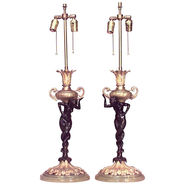 Pair of French Victorian Bronze Table Lamps For Sale