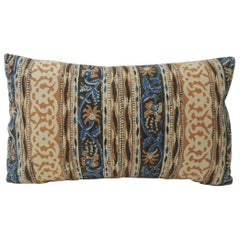 Vintage Indian Hand-Blocked Artisanal Textile Decorative Lumbar Pillow