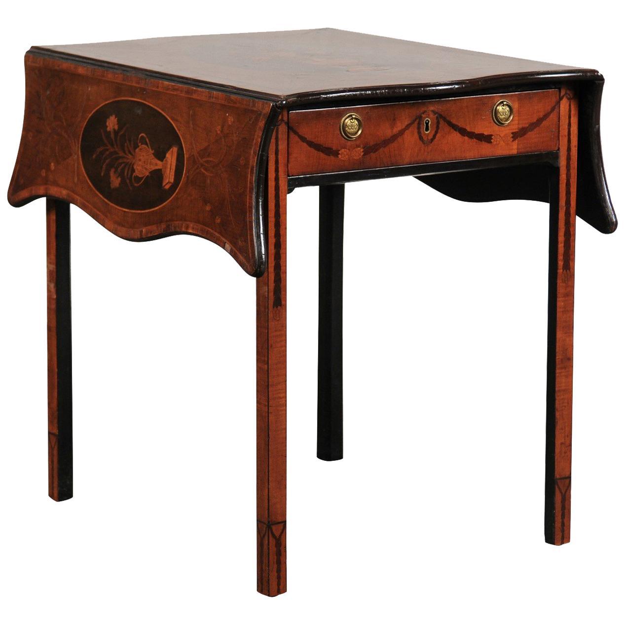 18th-19th Century English George III Mahogany Inlaid Pembroke Table