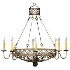 Wrought Iron Basket Chandelier