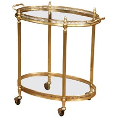 Early 20th Century, French Polished Brass Dessert Table or Bar Cart on Wheels