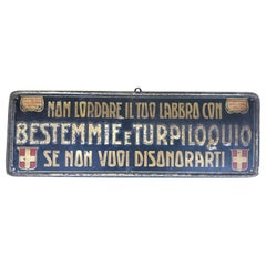 1920s Remarkable Vintage Italian Moral Sign in Tin on a Wooden Board