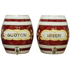 Pair of Eye-Catching 19th Century English Glazed Ceramic Liquor Barrels