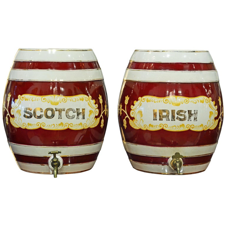 Pair of Eye-Catching 19th Century English Glazed Ceramic Liquor Barrels For Sale