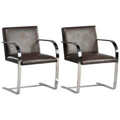 Pair of Knoll Bruno Flat Bar Chairs with Leather Upholstery