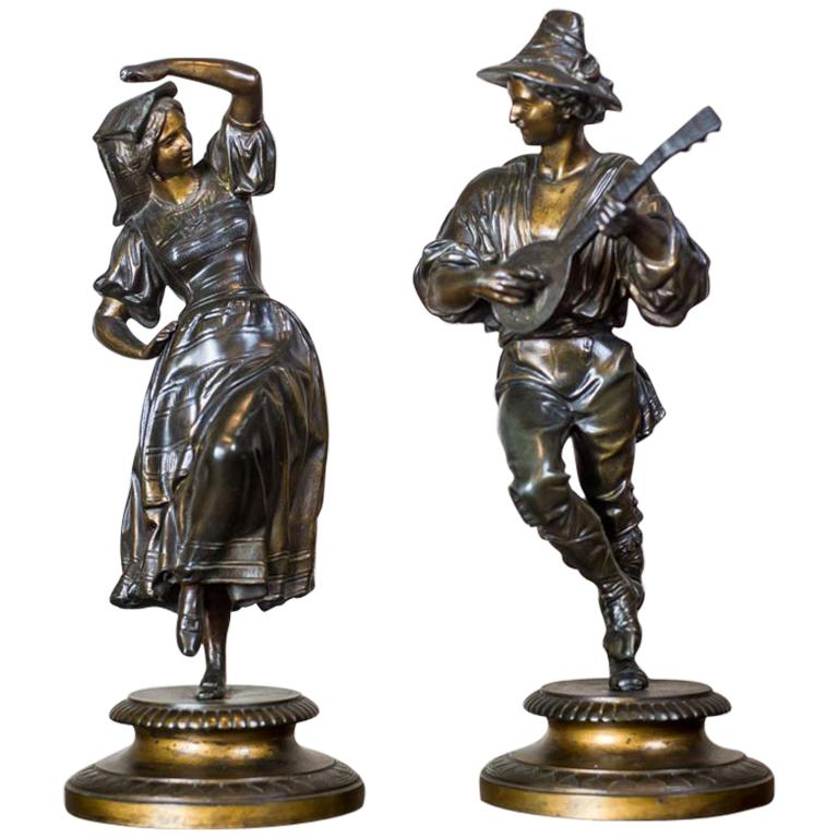 Pair of Zamak Figurines from the 1930s For Sale