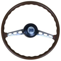 1960s Vintage Wooden and Metal Lancia Steering Wheel Made in Italy