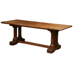 Mid-20th Century French Louis XIII Carved Oak Double-Leg Pedestal Farm Table