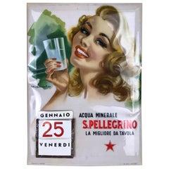 1960s Vintage Italian Daily Perpetual Calendar San Pellegrino Mineral Water