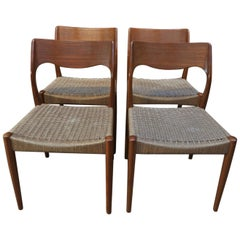 Set of 4 Chairs Model 71  by Niels Otto Moller Denmark 1950 Model 71